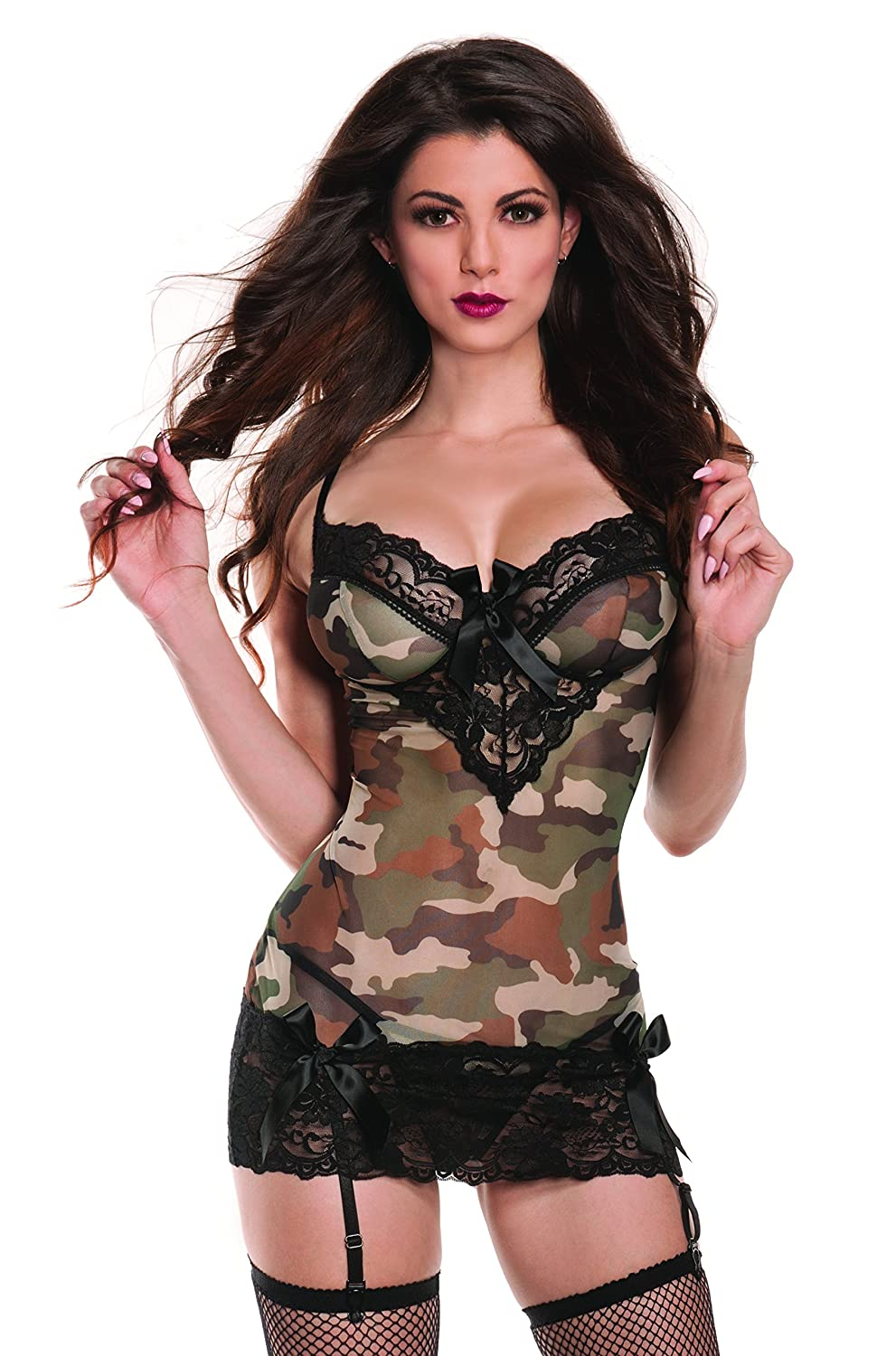 d3f99b4f09136 Amazon.com  Raveware Lingerie Women s Sexy Camouflage Chemise Lingerie Set  with Mathing G-String  Clothing