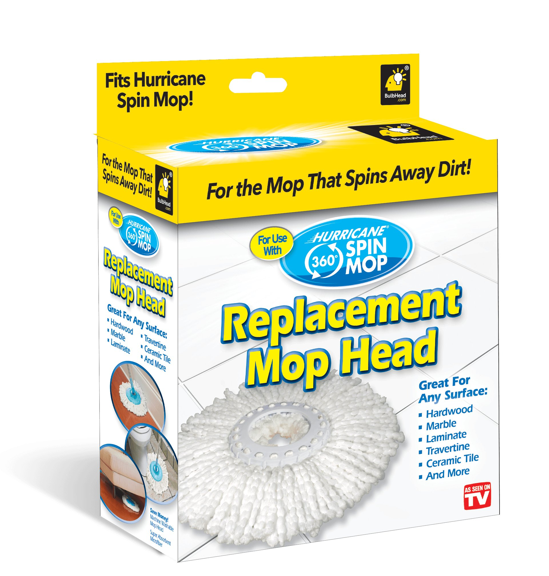 Hurricane Spin Mop Replacement Mop Head by BulbHead