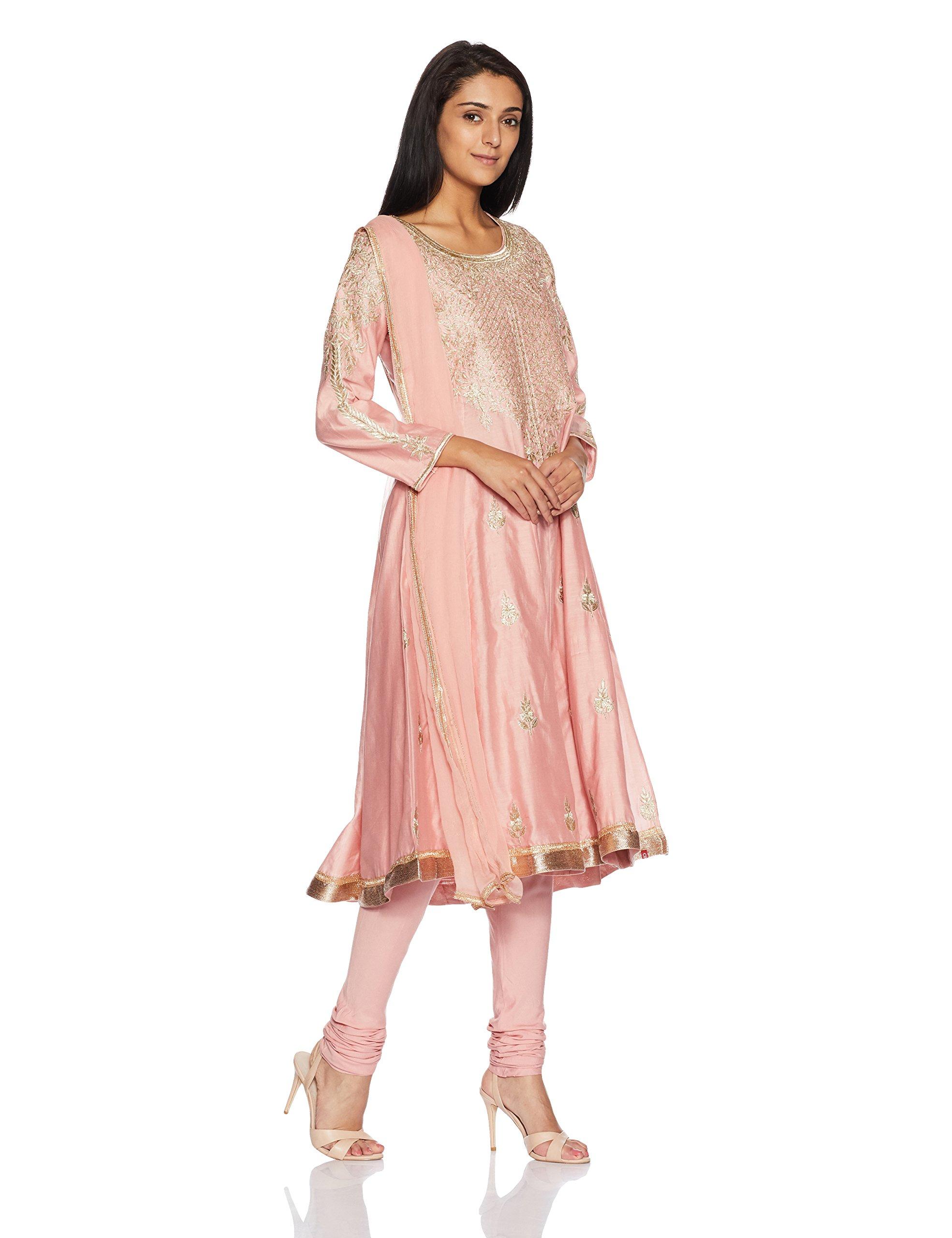 BIBA Women's Kalidar Viscose Cotton & Silk Suit Set 36 Peach