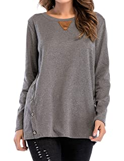 cfaf8a152a9 Aifer Womens Waffle Knit Tunic Blouse Tie Knot Henley Tops Loose Fitting Bat  Wing Plain Shirts