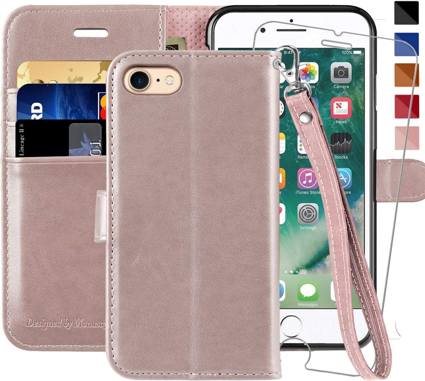 iPhone 6 Wallet Case/iPhone 6s Wallet Case,4.7-inch, MONASAY [Glass Screen Protector Included] Flip Folio Leather Cell Phone Cover with Credit Card Holder for Apple iPhone 6/6S (Rosegold with Strap)