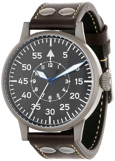 Laco 1925 - Reloj analógico para caballero de cuero Resistente al agua negro