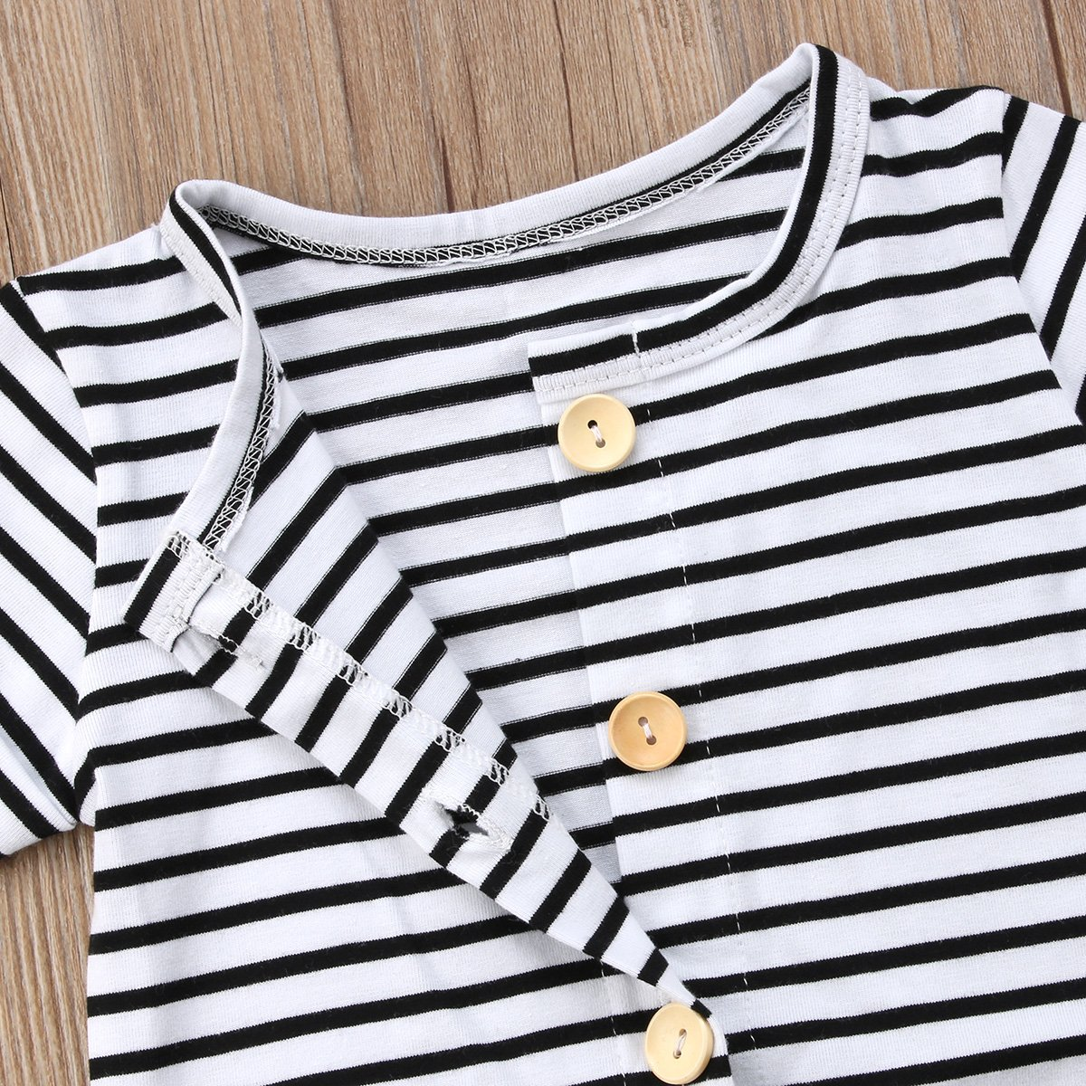 Urkutoba Baby Girls Romper Knitted Ruffle Long Sleeve Jumpsuit Baby Kids Girl Romper Autumn Winter Casual Clothing (0-6 Months, Striped&Buttons) by Urkutoba (Image #6)