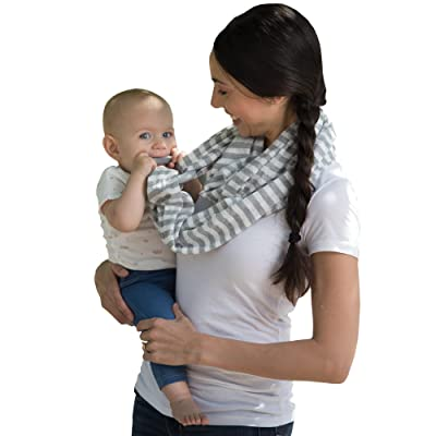 Boppy Teething Scarf, Gray and White Stripes : Baby