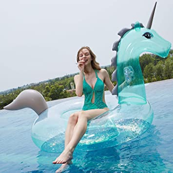 Much-Green Inflable Unicornio Flotador Gigante(Lentejuelas ...