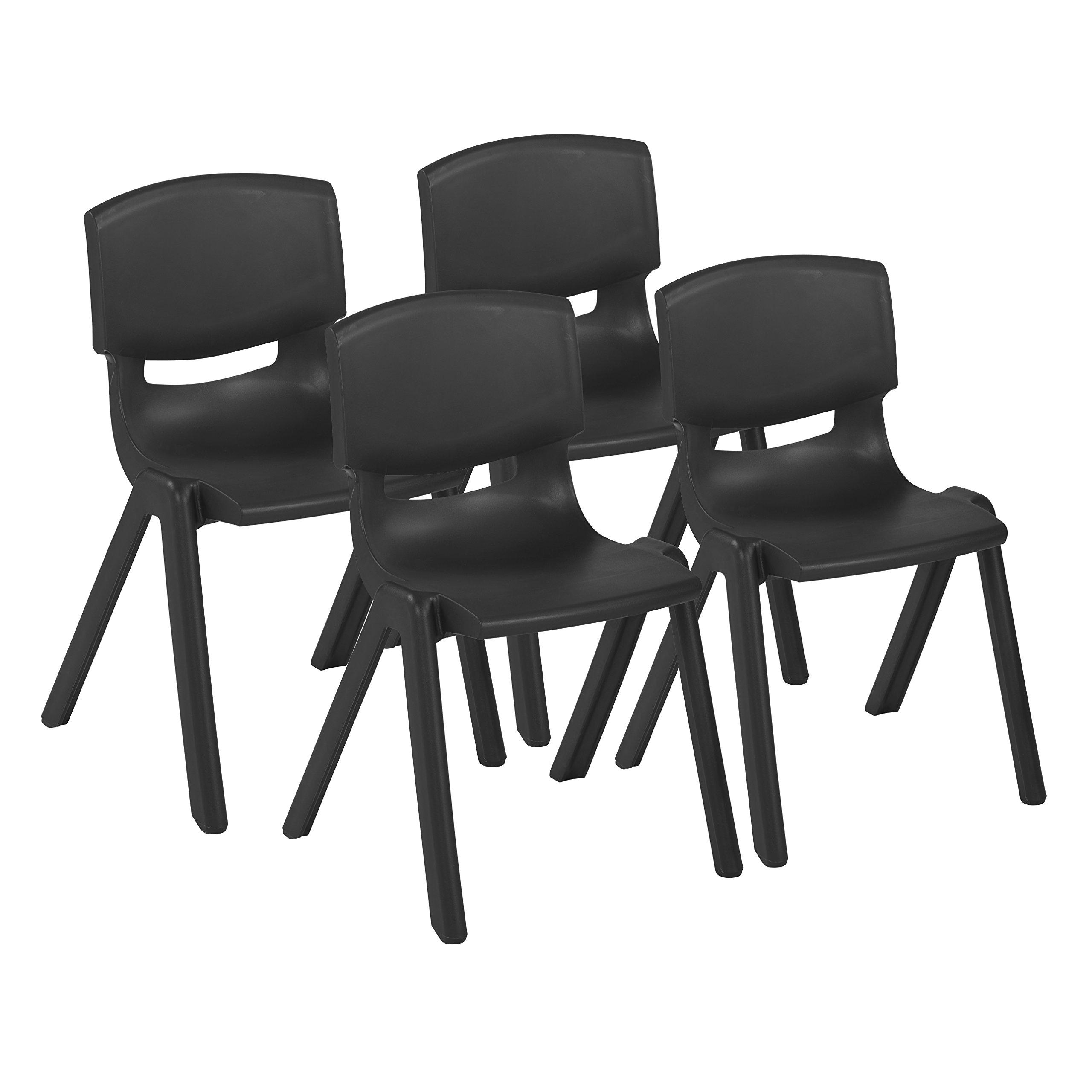 ECR4Kids 18'' School Stack Resin Chair, Black (4-Pack)