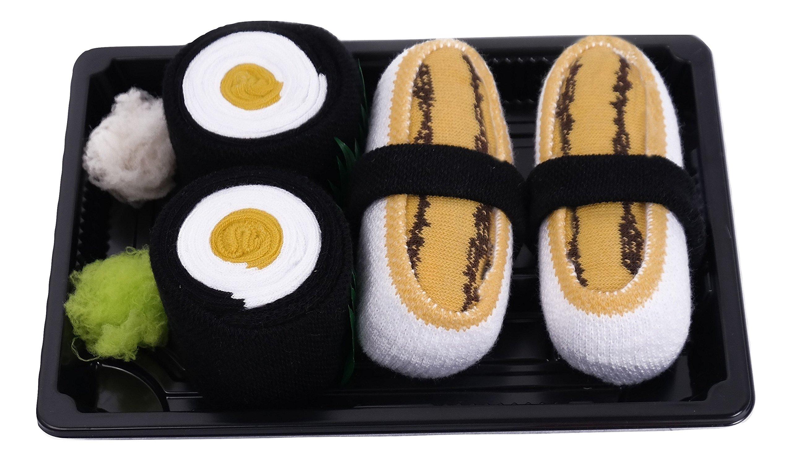 SUSHI SOCKS BOX 2 pairs Tamago Maki Oshinko Unisex FUNNY GIFT! Made in Europe L by Colors of Rainbow (Image #1)