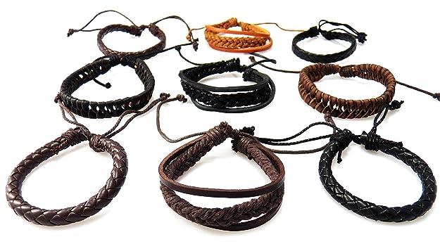 AKIEE 9 Piezas Pulseras Cuero Trenzado para Hombres Mujeres-Set Pulseras de Cuerda con Nudo Ajustable Brazalete Vintage (9 PCS)