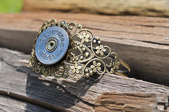 Remington 12 gauge Polished Silver Filigree Antique Brass Thick Bracelet  Cuff-Bullet Jewelry