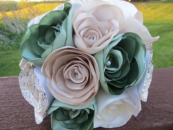 Amazon.com: Bridal Fabric Bouquet,Wedding Bouquet, Paper Flower ...