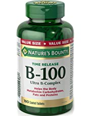 Nature's Bounty Vitamin B 100 Ultra B Complex Supplement, Helps the Body Metabolize Carbohydrates, Fats, and Proteins, Time Release, 180 coated tablets