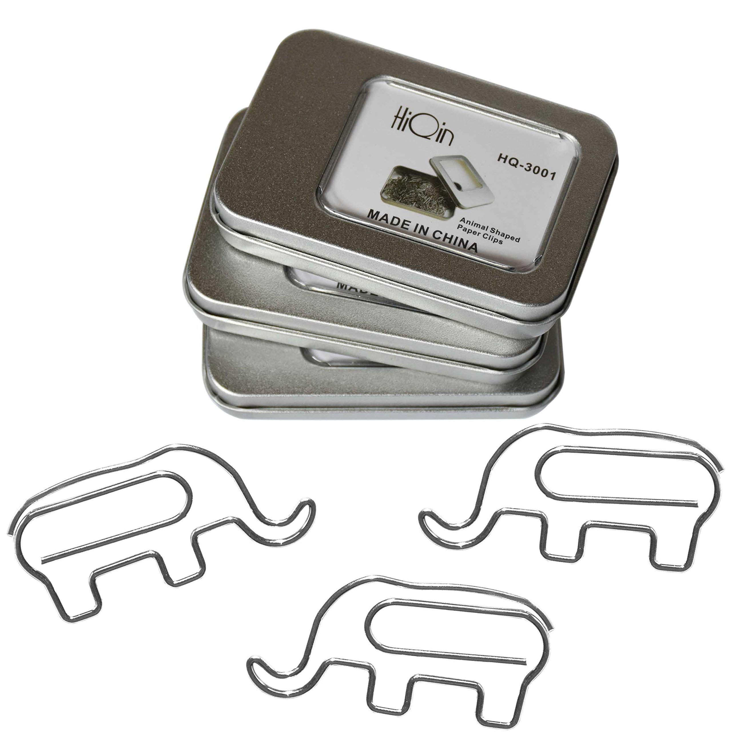 Fun Elephant Paper Clips (3 Boxes) - Cute Desk Accessories Bookmark Clips Page Markers - Office Supplies Gift for Coworkers