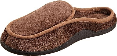 New Isotoner Men/'s Microterry Memory Foam Indoor//Outdoor Slip-On Slippers