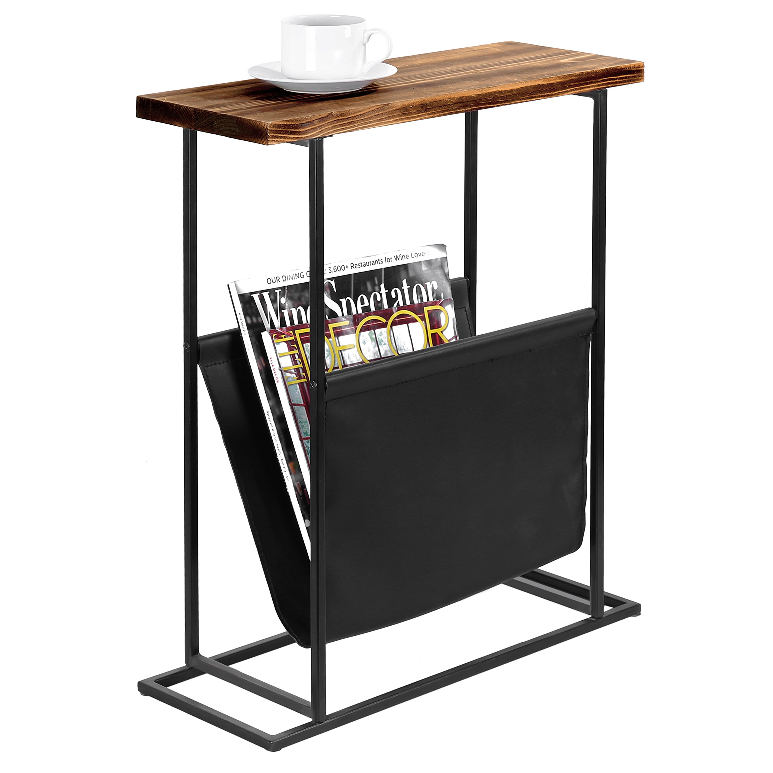 MyGift 21-Inch Modern Wood & Metal End Table with Magazine Holder Sling by MyGift