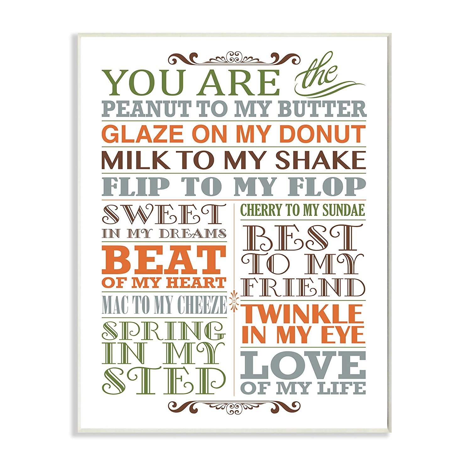 The Kids Room by Stupell You are Peanut to My Butter Typography Art Wall Plaque Proudly Made in USA 11 x 0.5 x 15