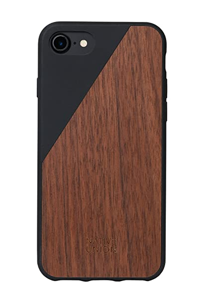 new product e3891 1eb68 Native Union CLIC Wooden Case - Handcrafted Real Walnut Wood Drop-Proof  Slim Cover with Screen Bumper Protection for iPhone 7, iPhone 8 (Black)