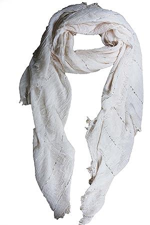 e5fc1c9e2b8 FERETI Grand foulard Beige à sequins paillettes broderies et franges argent  Echarpe