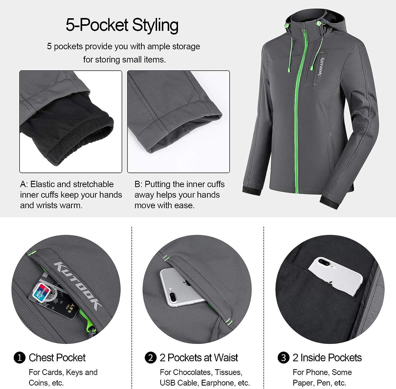 KUTOOK Femme Veste de Ski Montagne Outdoor Manteau dhiver Chaud avec Capuche Amovible Veste Imperm/éable