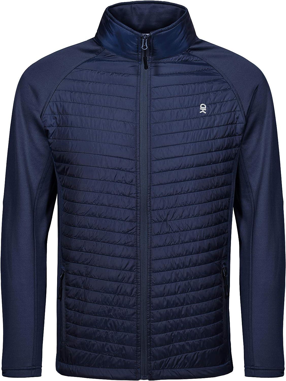 Little Donkey Andy Men's Insulated Running Warm Jacket, Thermal Hybrid Hiking Jacket: Clothing