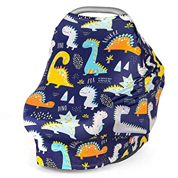 Dinosaur Soft Nursing Cover Breastfeeding Scarf Stretchy Baby Car Seat Cover Canopy Infant Carrier Cover for Boys and Girls