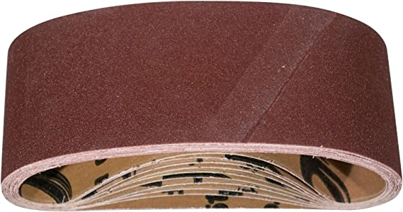POWERTEC 110870 3 x 18 Inch Sanding Belts | 240 Grit Aluminum Oxide Sanding Belt | Premium Sandpaper for Portable Belt Sander – 10 Pack