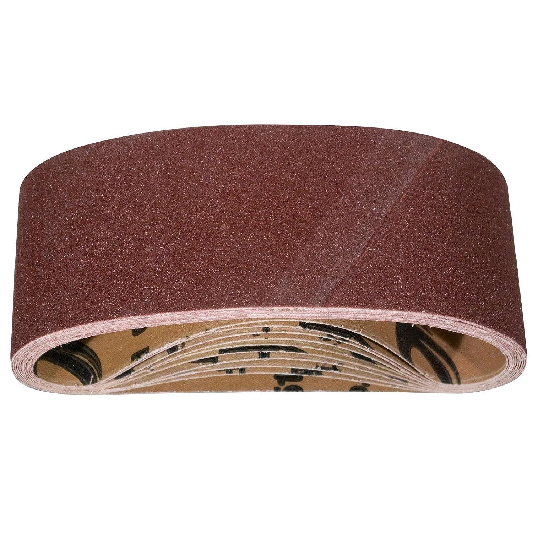 POWERTEC 110430 3-Inch x 21-Inch 80 Grit Aluminum Oxide Sanding Belt, 10-Pack