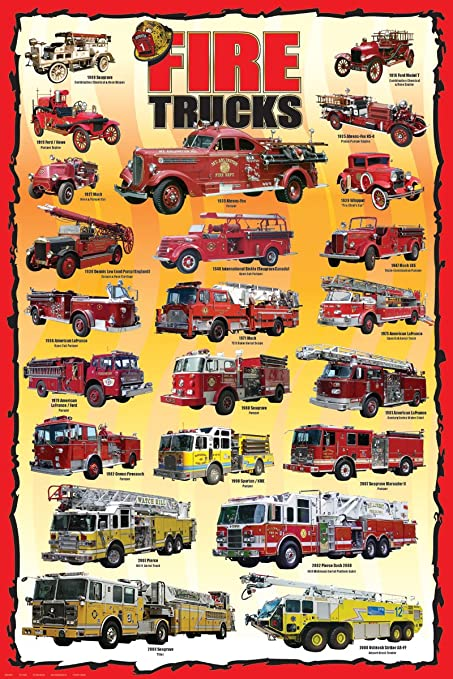 Amazon.com: Fire Trucks Kids Educational Poster 24 x 36in: Posters ...