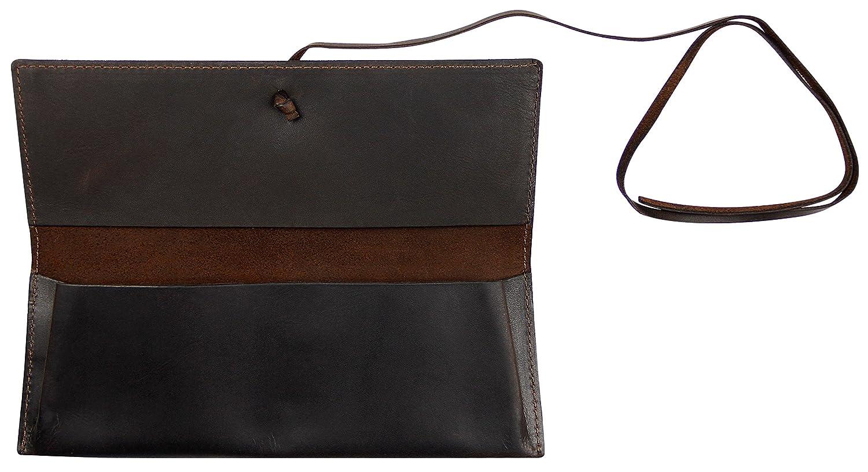 KLONDIKE 1896 Estuche de cuero Avery, estuche fabricado de cuero auténtico para mujeres y hombres, marrón