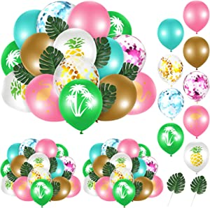 66 Pieces Summer Tropical Balloon Arch Garland Kit, Hawaii Confetti Balloons Pink Green Gold Arch with Palm Leaves Luau Flamingo Tropical Theme Balloon Garland Decor for Baby Shower Birthday Party