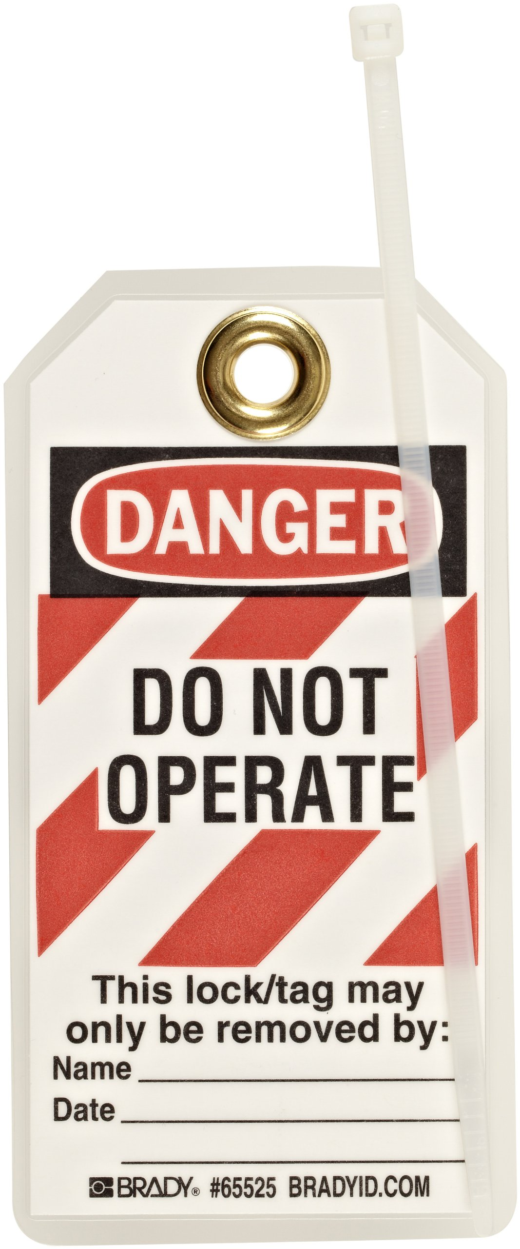 Brady High-Visibility ''Danger - Locked Out - Only the Individual'' Tag, Heavy Duty Polyester, 5-1/2'' Height, 3'' Width (Pack of 25)