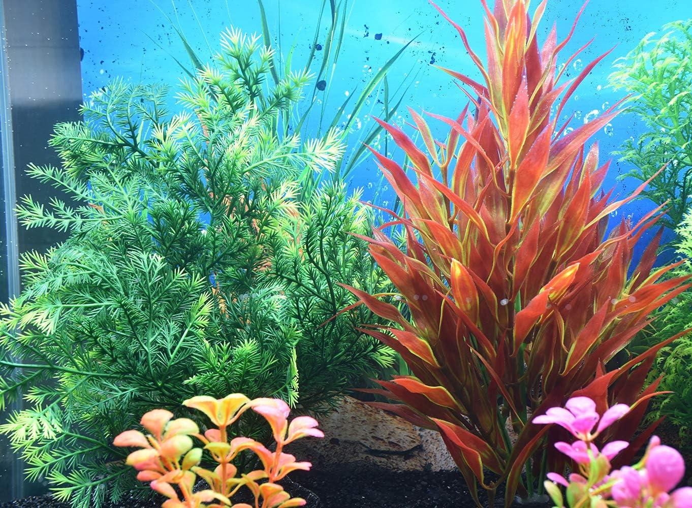 Safe for Fish 2 Pack Non-Toxic/&Soft Bosmarlin Artificial Fish Tank Plants Plastic Aquarium Plant