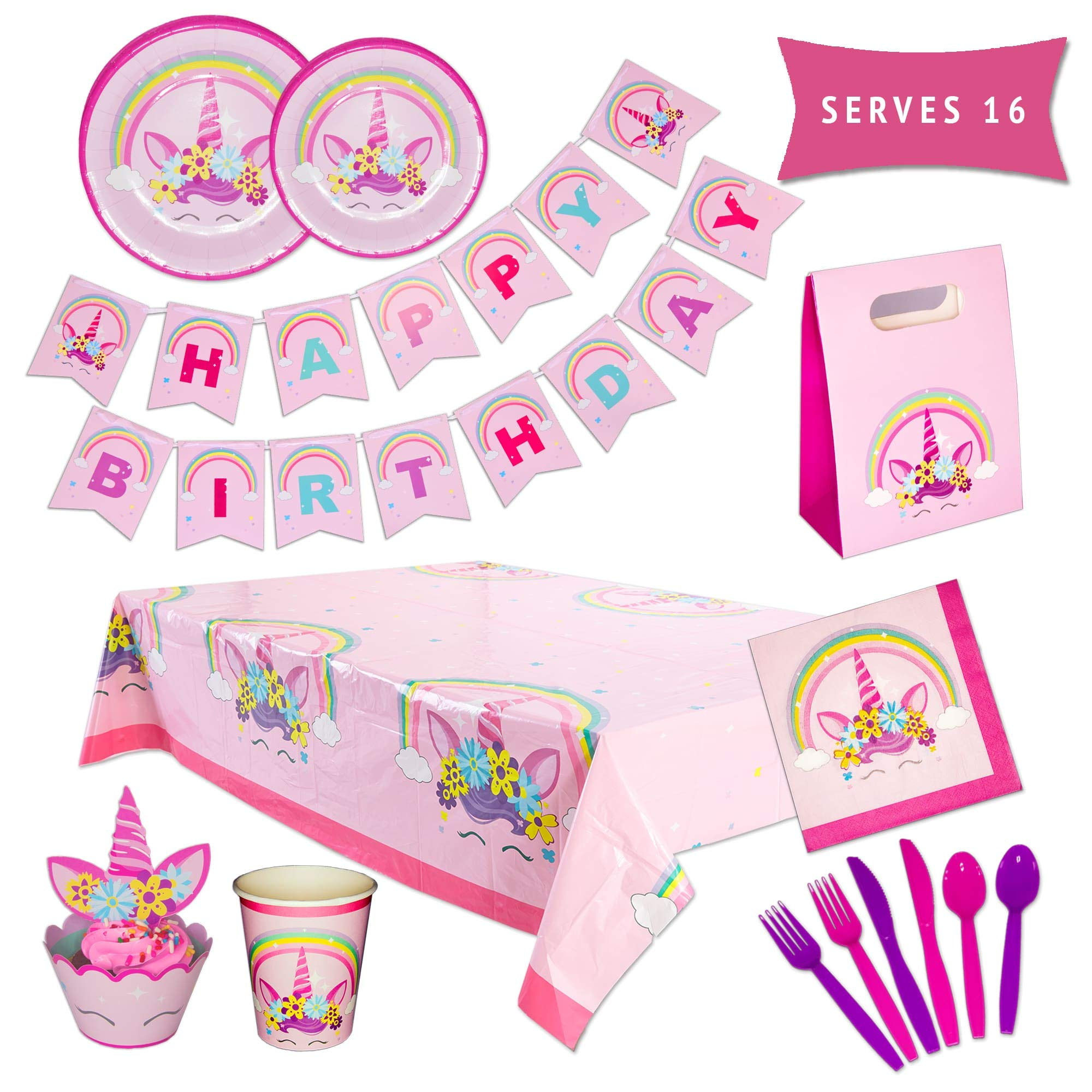 Unicorn Party Supplies Kit - Unicorn Party Decorations - Happy Birthday Banner, Party Plates, Party Cups, Cupcake Toppers & Wrappers, Favor Bags, Utensils & Table Cloth - 162 Piece Set by PARTY TYKES