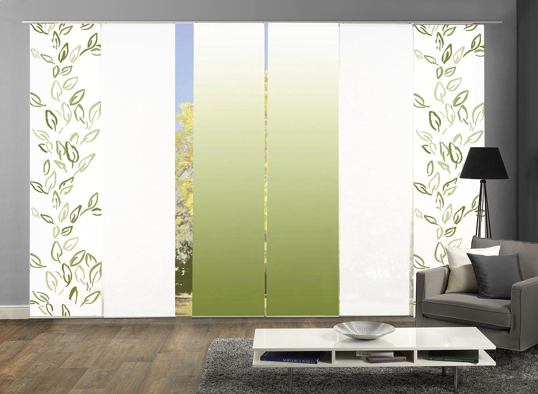 Wohnfuehlidee 6er-Set Flächenvorhang, Deko blickdicht, RAMONA, Höhe 245 cm, 2x Dessin grün 2x uni weiß blickdicht 2x Farbverlauf grün