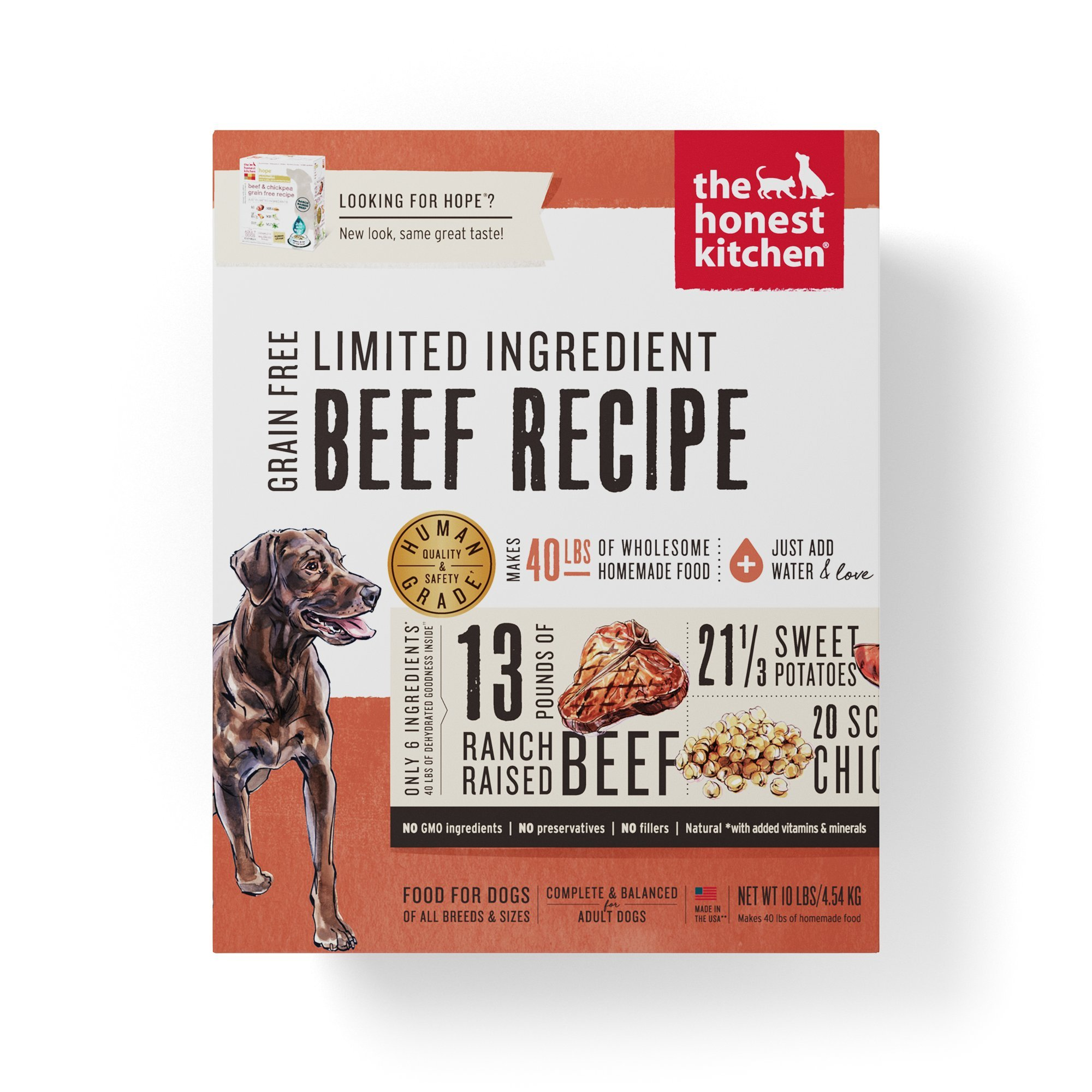 The Honest Kitchen Limited Ingredient Beef Dog Food Recipe, 10 lb box - Hope