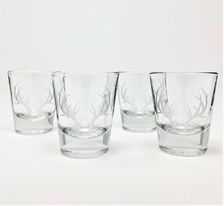 Shot Glasses Engraved Antlers 1.5 oz.