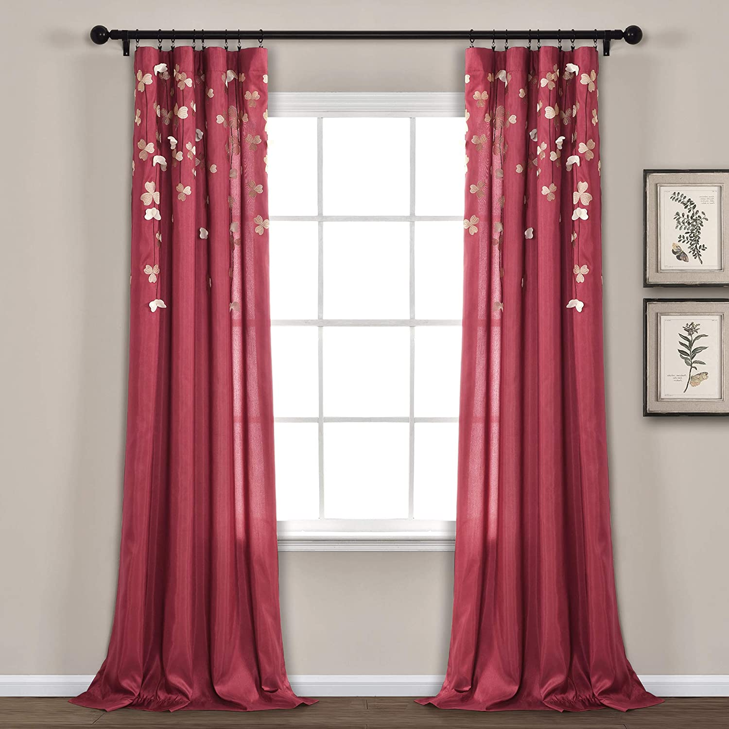 Amazon Com Lush Decor C01240q12 Flower Drops Curtain Panel For Living Room Bedroom Dining Room Single 84 X 42 Red Home Kitchen