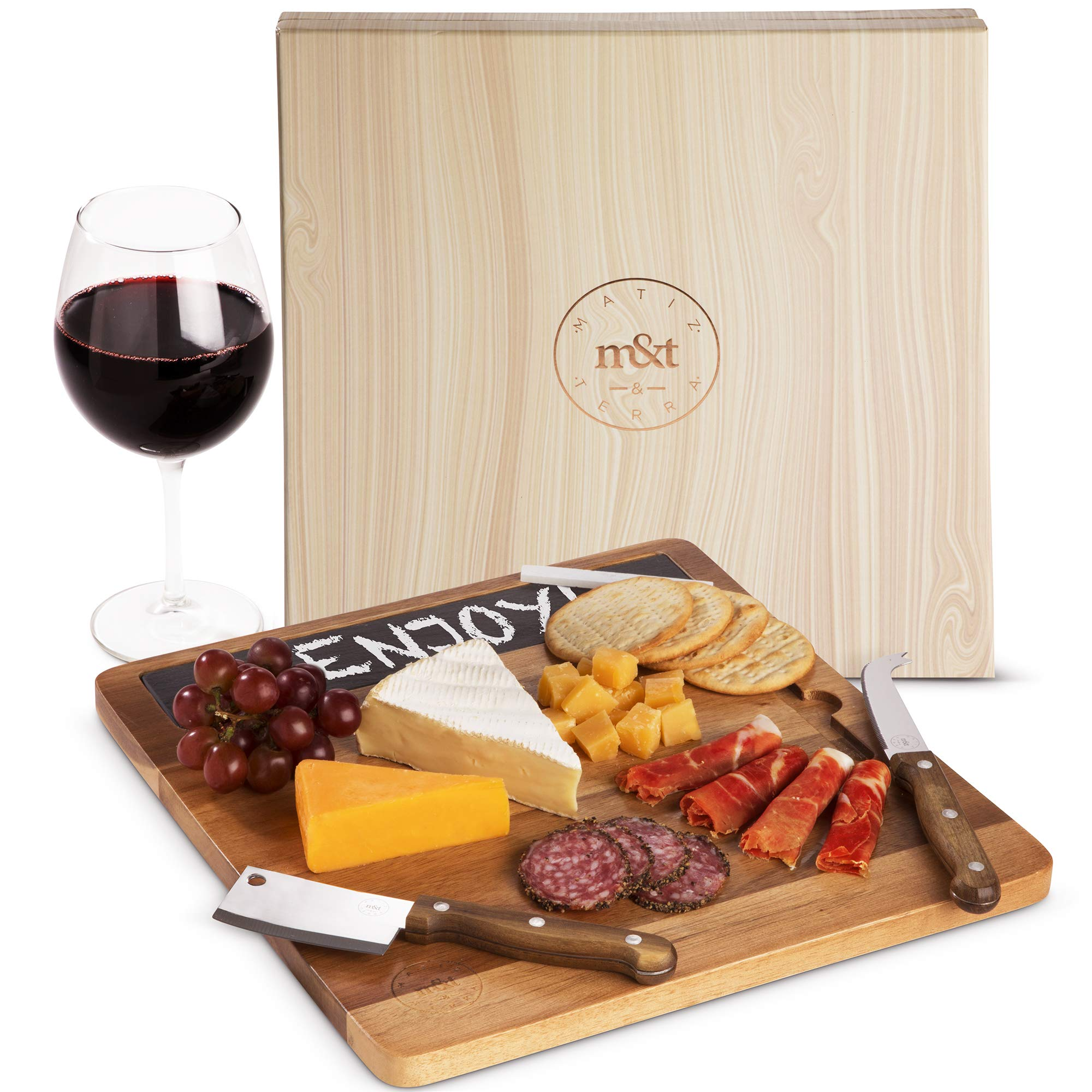 Premium Acacia Wood Charcuterie Cheese Board Server Set with Pronged, Cleaver Knives, Slate and 2 Pencils in Elegant Gift Box - Meat, Cheese, Crackers, Bread Serving Platter - Gift Any Occasion