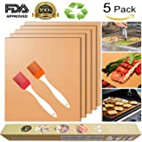 Copper Grill Mat for Gas Grills and Bake Mats Set of 5 Non-stick BBQ Grill & Baking Copper Sheet Works on Gas, Charcoal, Electric Grill (Gold) with 2 Silicone BBQ Brushes