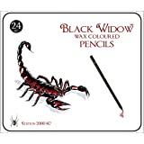 Black Widow ® Colored Pencils for Adults, the Best Color Pencil Set for Adult Coloring Books, A Quality 24 Piece Blackwood Drawing Kit Available to Use in your books. Scorpion Edition