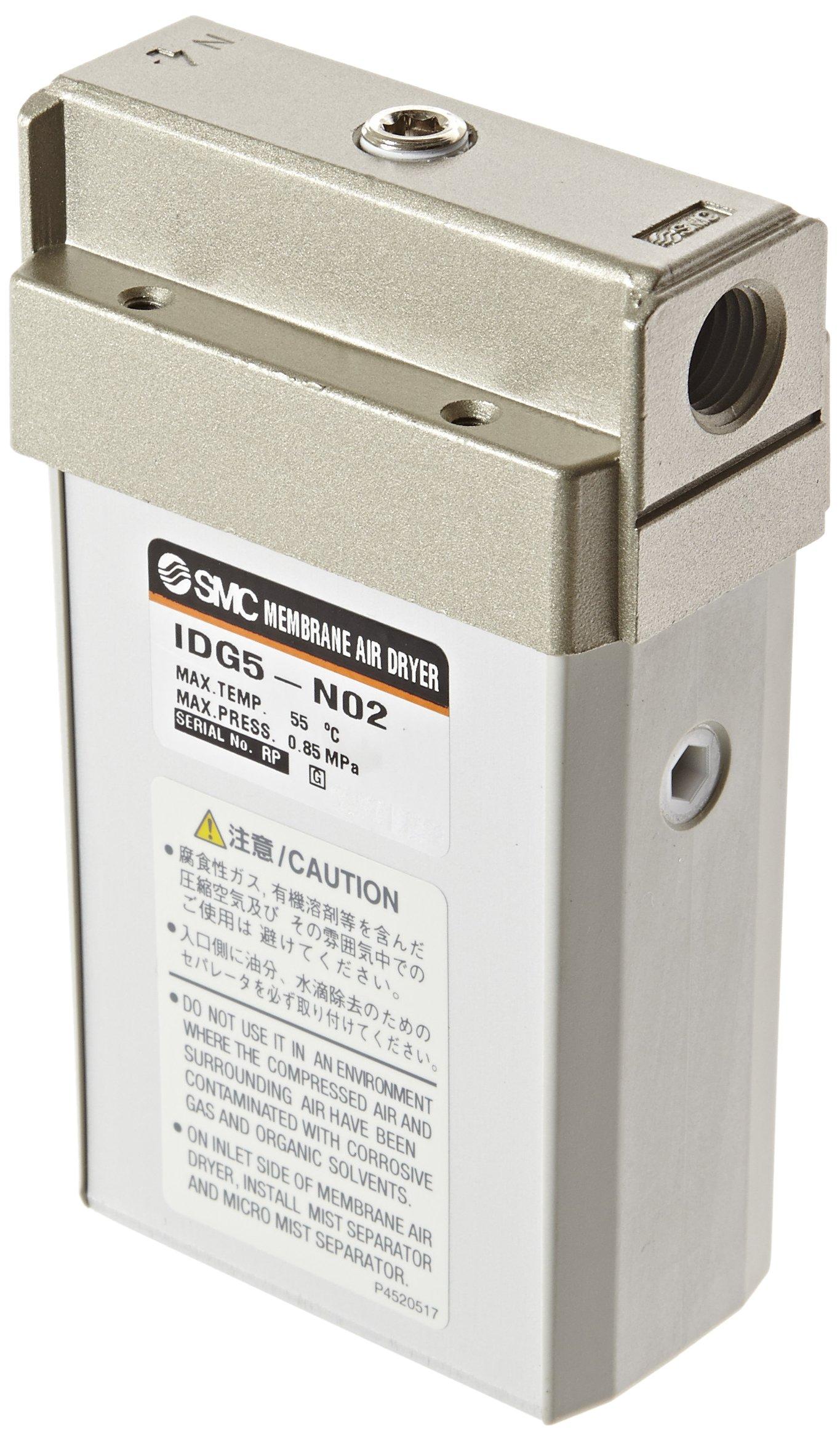 SMC IDG5-N02 Membrane Air Dryer, 1/4'' NPT, Outlet Air Flow 50 L/min; Purge Air Flow 12 L/min, -20 degrees Celsius Dew Point