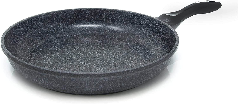 Alpha MF-32, Textured Ceramic Marble Coated Cast Aluminium Non-Stick Frying Pan from Korea 12.6-Inch, Black