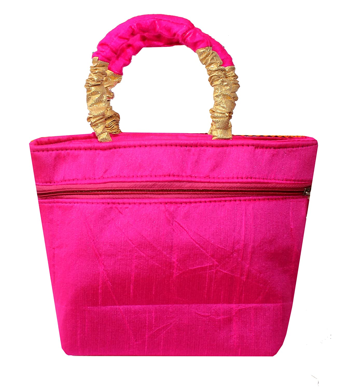1f55dbce6a Milan's Creation Women's Pink Silk Hanbag With Kashmiri Floral Embroidery  and Velvet Handles: Amazon.in: Shoes & Handbags