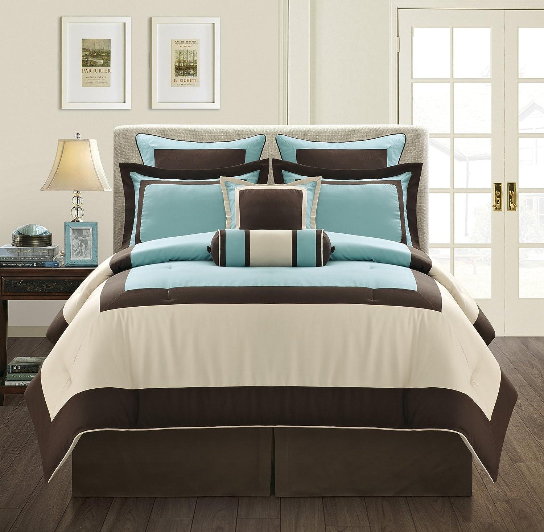 Grand Linen 7 Piece Gramercy Color Block Bedding Choco Brown with Aqua Blue Accents Comforter Set, Queen Size Bedding