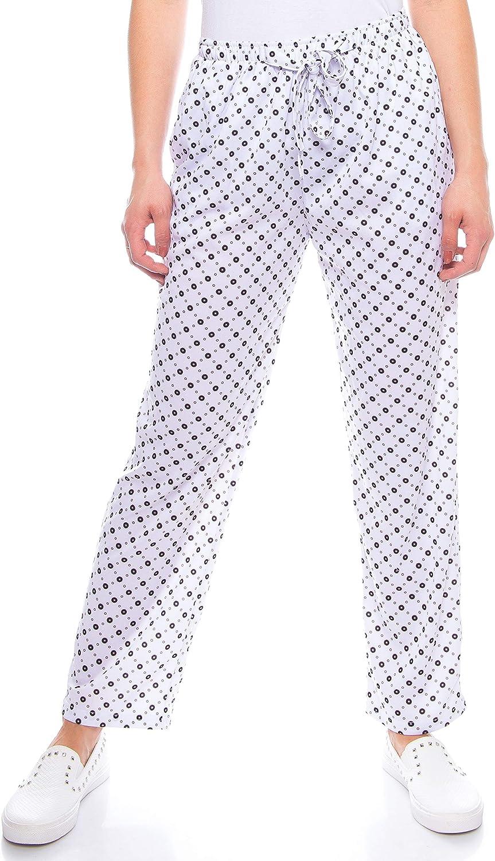 Kendindza pantaloni estivi da donna in viscosa e cotone motivo floreale per il tempo libero
