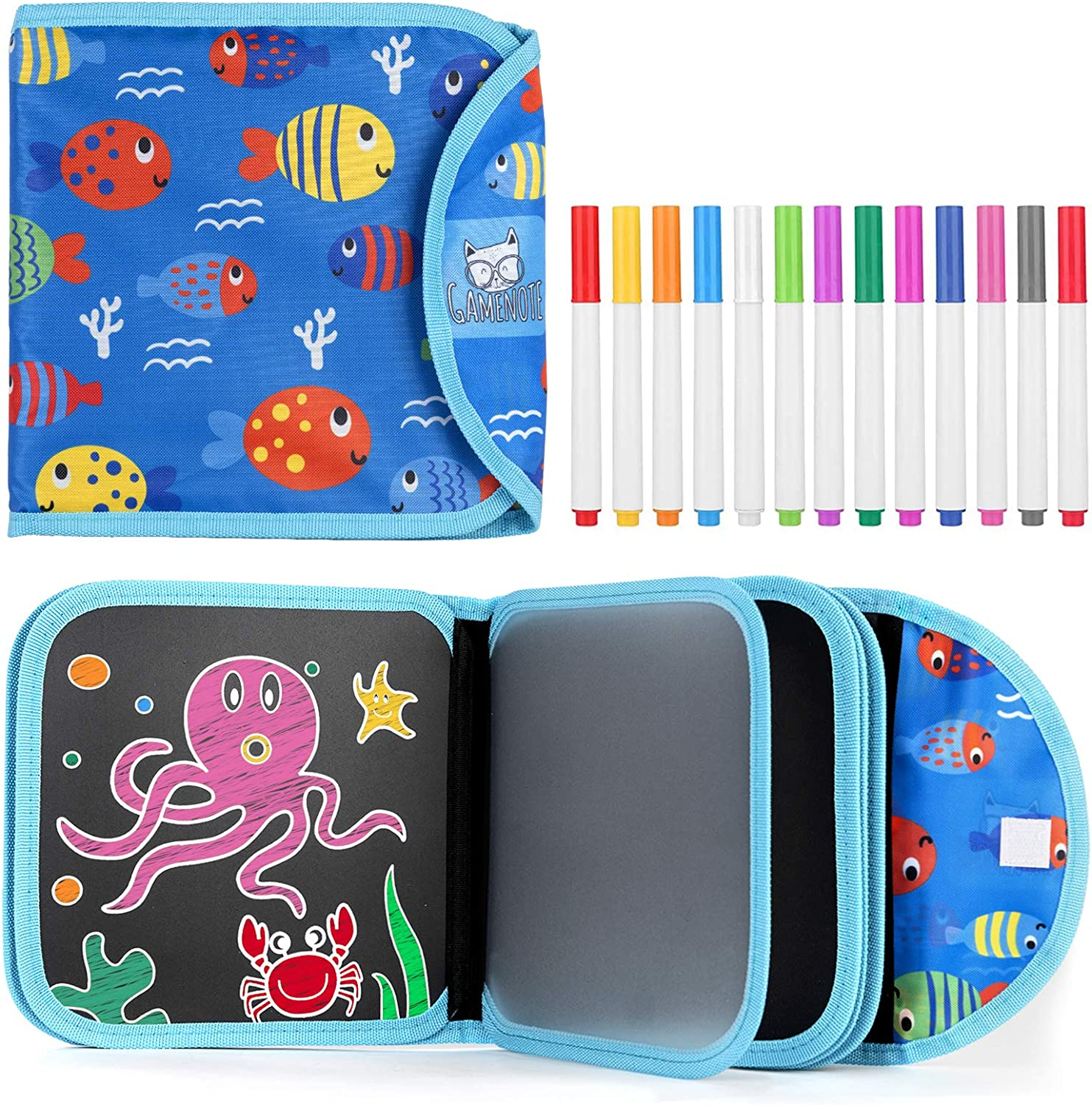 14 Pages for Funny Drawing with 12 Watercolor Pens Reusable Drawing Pads Kids Erasable Doodle Book Set Green Gifts for Boys Girls Road Trip Preschool Travel Art Toy Scribbler Board for Travel