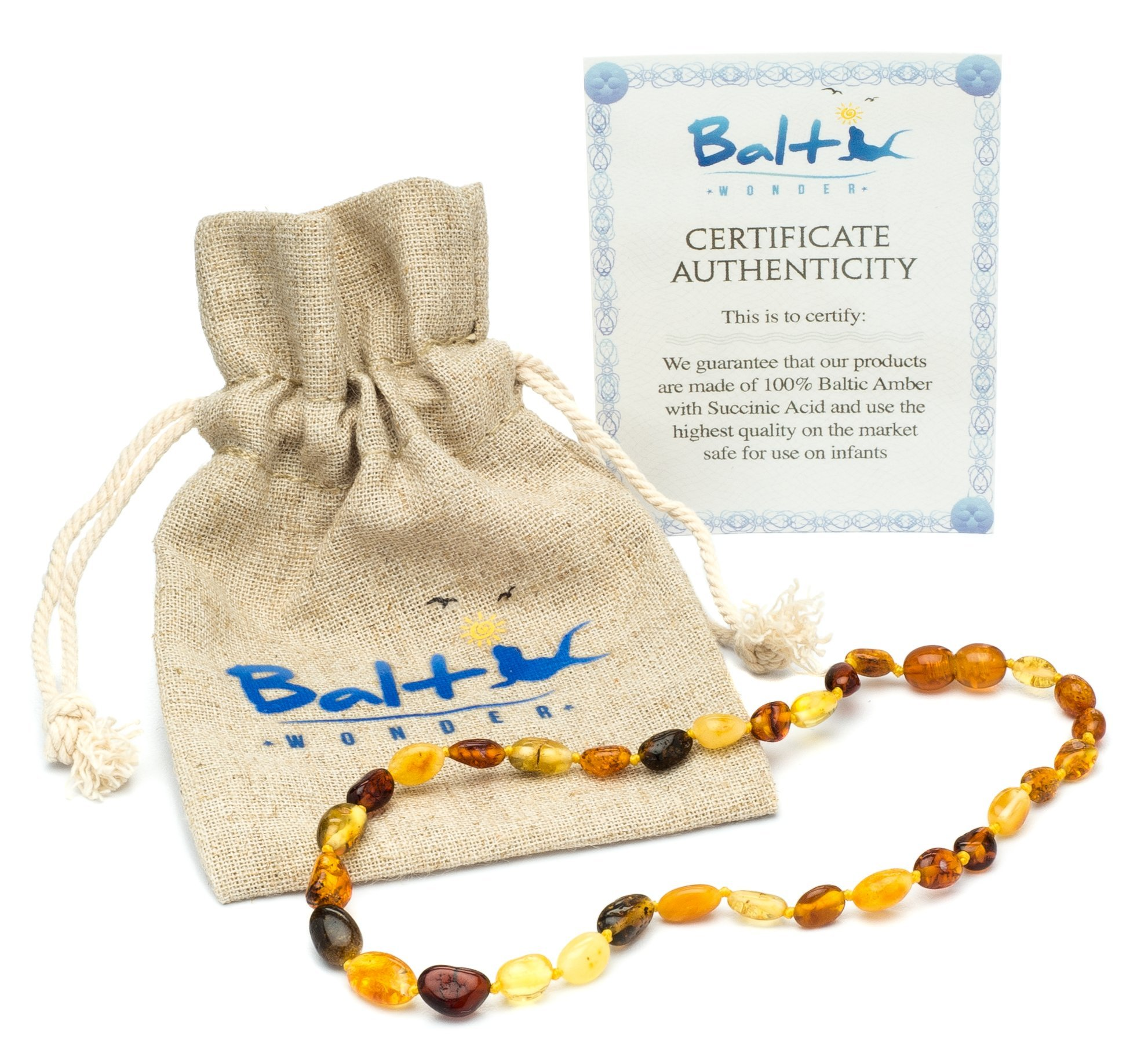 Amber Teething Necklace for Babies (Unisex) - Anti Flammatory, Drooling & Teething Pain Reduce Properties - Certificated Natural Oval Baltic Jewelry with the Highest Quality Guaranteed.