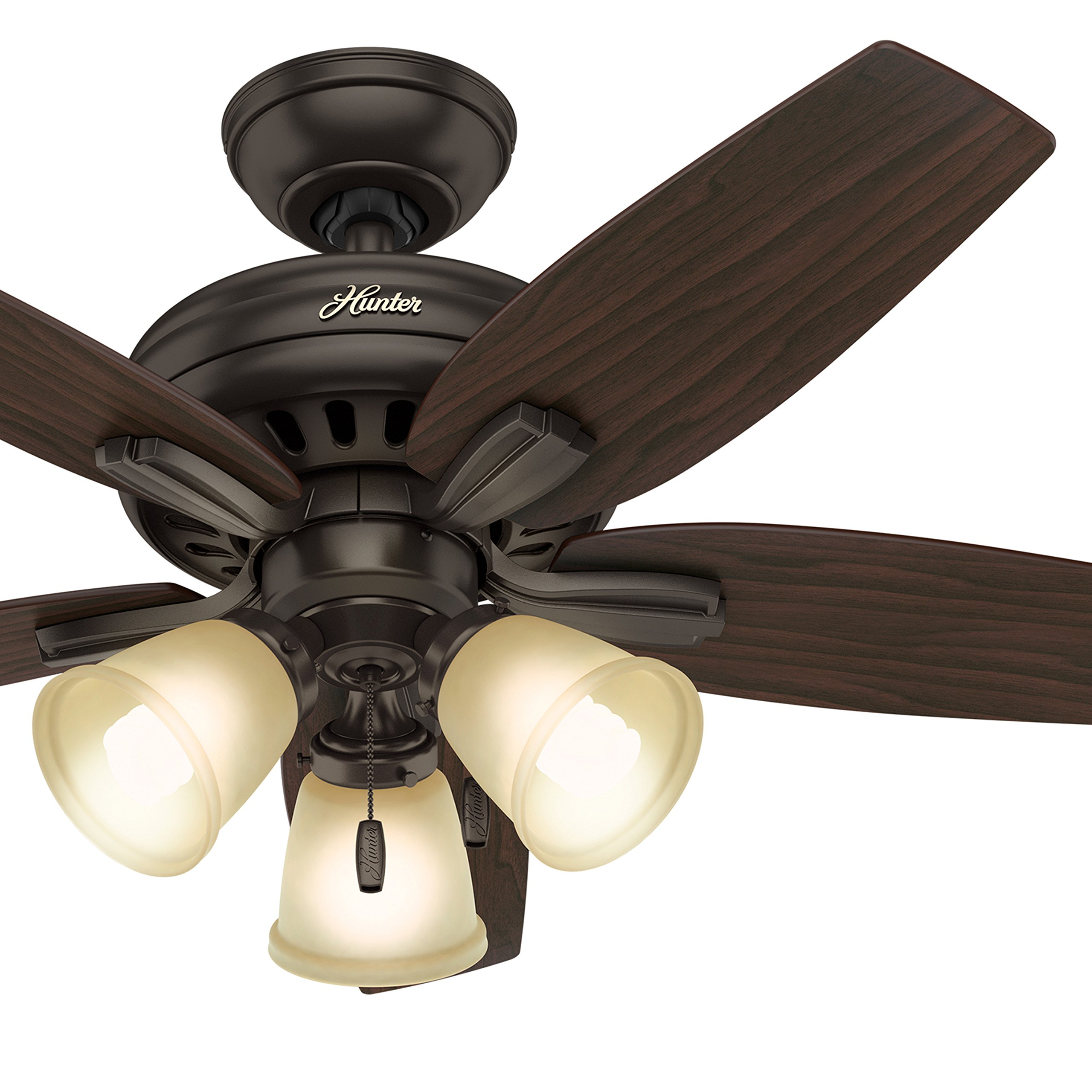 Hunter 42 in. Ceiling Fan in Premier Bronze Includes Three-Light Fitter with Cased White Glass (Certified Refurbished)
