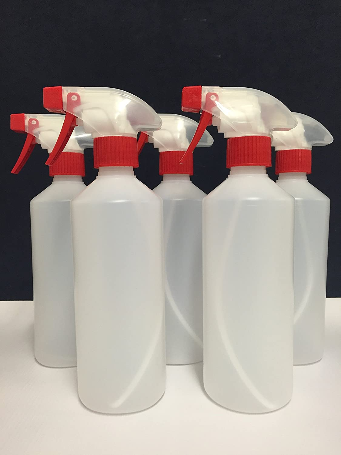 5 x Trigger Spray Bottles 500ML, Valeting, Household Cleaning Chemical Resistant Trade Chemicals