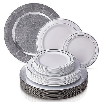 VAJILLA DESECHABLE DE 60 PIEZAS MODERNA Y ELEGANTE | Platos de plástico resistente | 20 bandejas