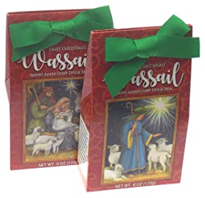 Spiced Apple Cider Wassail Gift Set Bundle - First Christmas & Silent Night Holiday Nativity Scene Plus a Gift Card